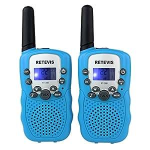 Retevis RT-388 Paire de Talkies Walkies Enfant PMR446 0.5W Ecran LCD Lampe Torch VOX (Bleu)