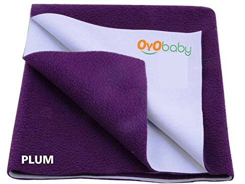 Oyo Baby - Quickly Dry Super Soft, Reusable Mat / Absorbent Sheets / Mattress Protector (Size:70 Cm X 50 Cm) / (28 Inch X 19 Inch) Plum,S