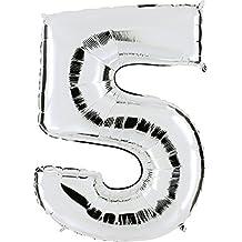 GLOBO Número 5en plata–XXL gigante Número 100cm–Para aniversario & Co–Party Regalo de cumpleaños Decoración Globo Globo de aire Happy Birthday