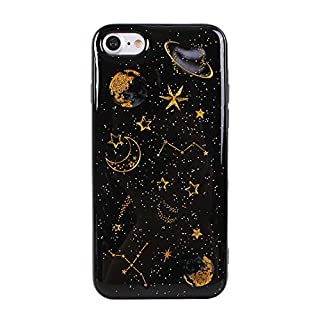 iPhone 7 Case, iPhone 8 Gel Shell Cover, Asnlove Glitter Sparkle Design Shockproof Flexible Silicone Ultra Slim Soft Back Skin Protective Case for Apple iPhone 7/8, Black Planet