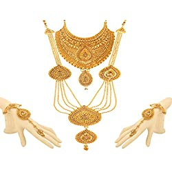 Bling N Beads 18K Gold Plated Bridal jewellery Traditional Necklace Set Perfect Gift For Her Wedding