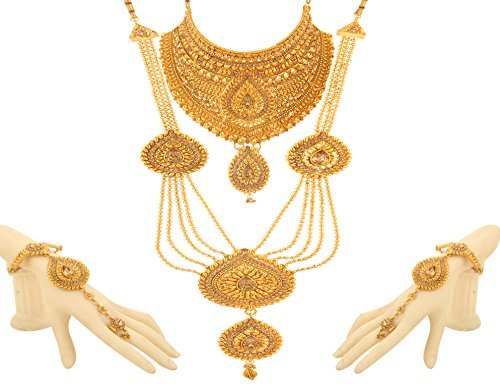 Bling N Beads 18K Gold Plated Bridal jewellery Traditional Necklace Set Perfect...
