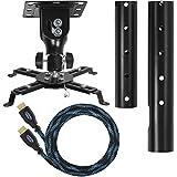 """Cheetah Mounts APMEB Soporte de Techo Color Negro para Proyectores con Cardan Universal Esférico; Incluye Un Cable HDMI """"Twisted Veins"""" (Último Estándar 1.4) de m 4,5 y Nivel Magnético con 3 Burbujas de cm 15"""