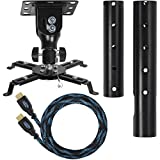 Cheetah Mounts APMEB, Supporto universale da soffitto per proiettori con asta estendibile fino a cm 68,5 e cavo HDMI Twisted Veins da m 4,5