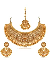 Apara Bridal Gold Plated Pearl LCT Stones Choker Necklace Set for Women