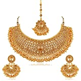 #3: Apara Bridal Gold Plated Pearl LCT Stones Necklace Set For Women (Golden)