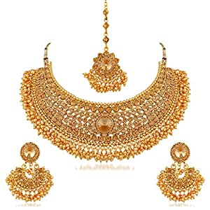 Apara Bridal Gold Plated Pearl LCT Stones Necklace Jewellery Set For Women (Golden)