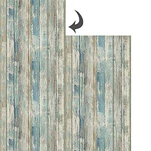 Hode Blaue Holzfolie Tapete Möbelfolie Selbstklebend Abziehbar Wasserfest Wanddekoration Möbelschutz Retro Holz Klebefolie, Blau 60X300cm