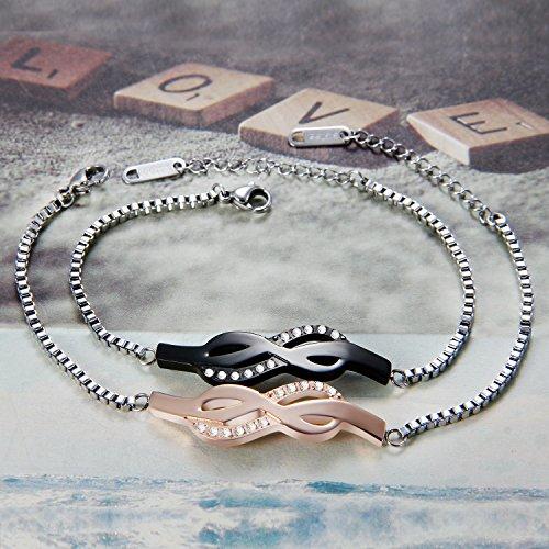Flongo Bracelet Acier Inoxydable Zircon Amitié Amour Infini Anniversaire Valentin Couleur Noir Rose Or Fantaisie Bijoux Cadeau pour Femme Homme Argent Rose Or