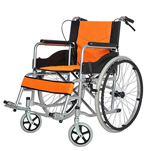 DEPTH Sedia A Rotelle A Spinta Leggero Pieghevole in Lega di Alluminio Sedia A Rotelle Anziana Guida Forniture Mediche per Adulti, Carrello da Viaggio per Disabili