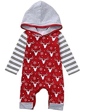 Omiky® Neugeborene Baby Mädchen Deer Striped mit Kapuze Strampler Overall Weihnachten Kleidung