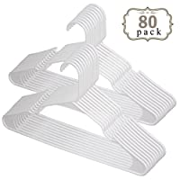 "Voilamart Pack of 80 White Plastic Clothes Hangers Heavy Duty Adult Coat Hangers, (42cm /17"" Width)"
