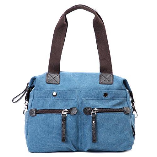 Eshow borsa da donna di tela da spalla a tracolla multiuso (blue)