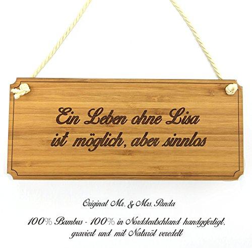 Mr. & Mrs. Panda Türschild Lisa Classic Schild - 100% handgefertigt aus Bambus Holz - Anhänger, Geschenk, Vorname, Name…