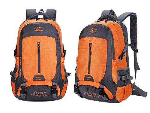 45L Zaino in nylon Coppia all'aperto alpinismo sacchetto di grande capienza Borsa a tracolla Sport , green Orange