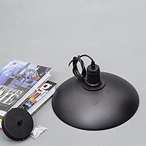 Retro Industrial Vintage Style Pendant Light Black Metal Ceiling Pendant Lamp Shade Light Lighting For Kitchen Loft Bedroom Office (E27 Socket Base) ¡­ from WanLianInc