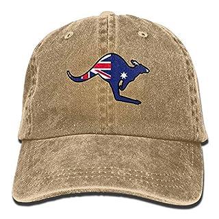 LLALUA Australian Flag Kangaroo Snapback Cotton Hat