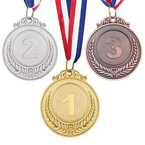 TOYANDONA 3pcs Sport Award Medal Set 1. 2. 3. Platz Kleines Weizenmuster Gold Silber Bronze Medaillen mit Halsband für den Sportwissenschaftswettbewerb -