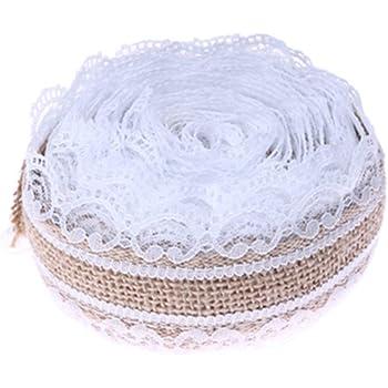 Gespout Blanc Dentelle Jute Maison de cordon en jute Artisanat ruban encreur DIY dentelle Lin pour mariage Fête Vacances Cérémonie Décor (2.5 * 200 cm)