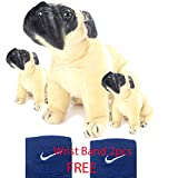 NB PHOENIX pug dog 60cm with 2 Babies Stuffed Toy, free wrist Band