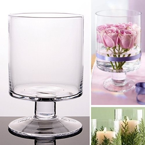 1 X Glass Handmade Cylinder Candle Holder Yankee Table Vase 14.5/10.5 Cm