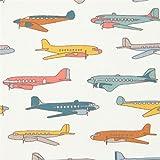 Cremefarbener Bio-Stoff mit Flugzeugen von birch