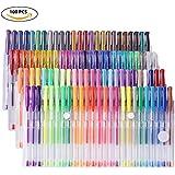 YOHOOLYO 100PCS Stylos Gel Pailletté Multicolores Crayons Gel Stylos Billes à Encre Gel avec Un Sac Feutre Fin pour Dessin
