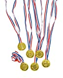 Baker Ross Medallas Doradas de plástico Unisex de 35 mm con Cinta para Regalar como Premio en concursos Infantiles (Pack de 6).