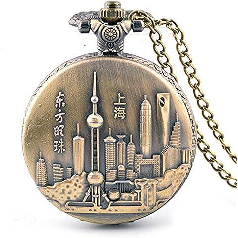 Moda a conchiglia in rilievo quarzo collana orologio da tasca