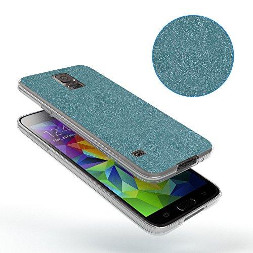 Samsung Galaxy S5 / S5 Neo Hülle - EAZY CASE Handyhülle - Ultra Slim Glitzer Schutzhülle aus Silikon in Pink Glitzer Hellblau