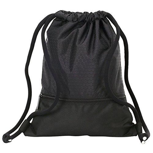 Unisex Rucksack Sporttasche Coolzon® Gym Sack Beutel Kordelzugbeutel mit Großen Zip Tasche für Sport Schule Reise 50x42cm/ 19.7