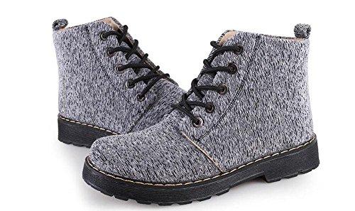KUKI Stivali da donna, scarpe da donna, piatti, stivali, spesse suole, stivali da neve, tela, tubo, stivali mh-9 gray