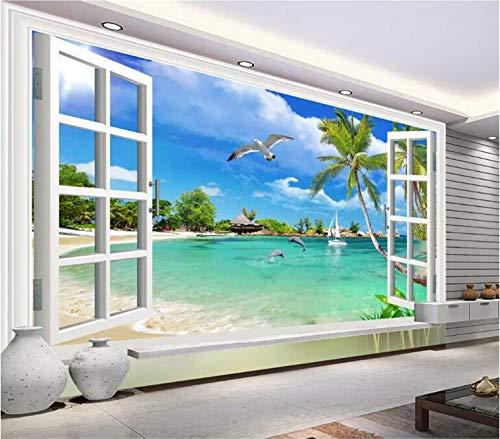 Hawaii Illusion (Fototapete 3D Ocean Hawaii außerhalb der Fensterlandschaft Wand Schlafzimmer Wohnzimmer Dekoration-400 * 300cm)