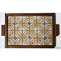 Ceramic Tray with Frame in Solid Wood Mosaic of Small Tiles Line Art Object Piece High Quality Hand Painted Le Ceramiche del Castello Made in Italy Dimensions : 38.5 x 29 x 2.5 centimeters