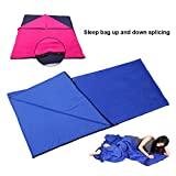 Netspower Outdoor Envelope Sleeping Bag Safe Quilt for Children Office Siesta Woolen Blanket Portable Travel Quilt Comfortable Car Pillow Blue
