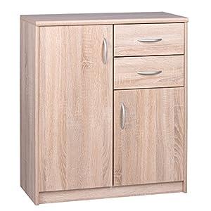 Kommode mit 2 Türen und 2 Schubladen (B/H/T: ca.: 74 x 85 x 35 cm) Topplatte 22 mm gesoftet, (Melaminharzbeschichtet…
