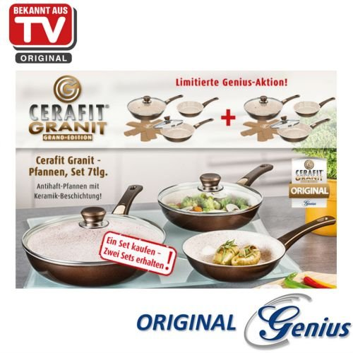 Genius Cerafit Granit Pfannen - Set | 7 Teile | antihaft | Bekannt aus TV | NEU
