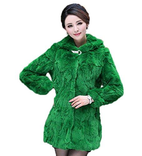 YRLOVE Damen Winter Echter Rex Kanichen Pelz Mantel Medium Verdicken Pelz Jacket Grün
