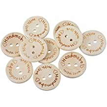 50 botones mensaje hecho a mano con amor de madera para scrapbooking, costura, decoración..