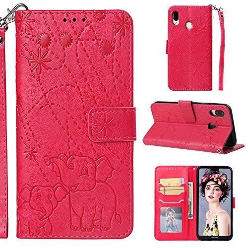 Nadoli Hülle for Huawei P20 Lite,PU Ledertasche Prägung Elefant Wallet Lederhülle mit Kartenfach Magnetischer Flip Handyhülle Bookstyle Cover für Huawei P20 Lite-Rot