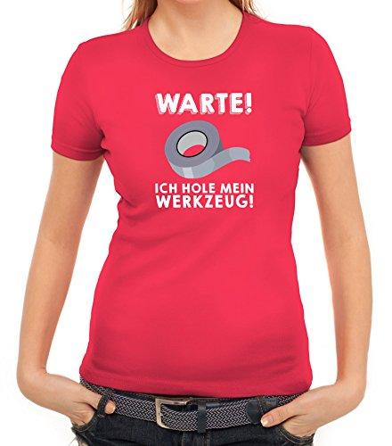 Techniker Damen T-Shirt mit Warte ich hole mein Werkzeug Motiv von ShirtStreet Pink