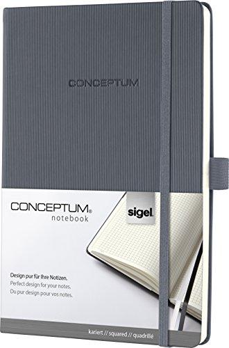 Sigel CO658 Notizbuch, ca. A5, kariert, Hardcover, dunkelgrau, 194 Seiten, CONCEPTUM - weitere...