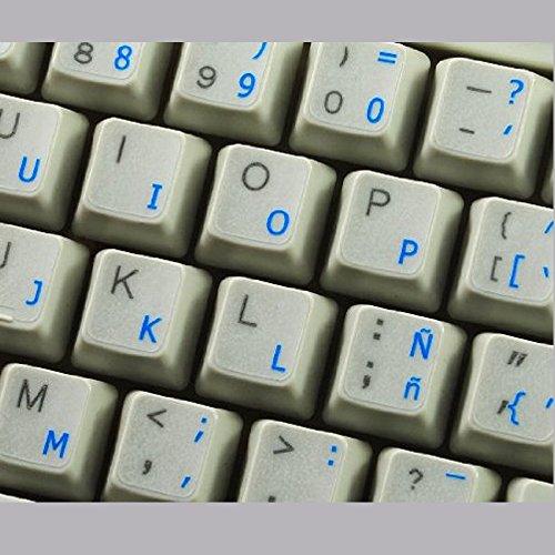 Pegatinas teclado español transparentes con letras AZULES - Apto para cualquier teclado