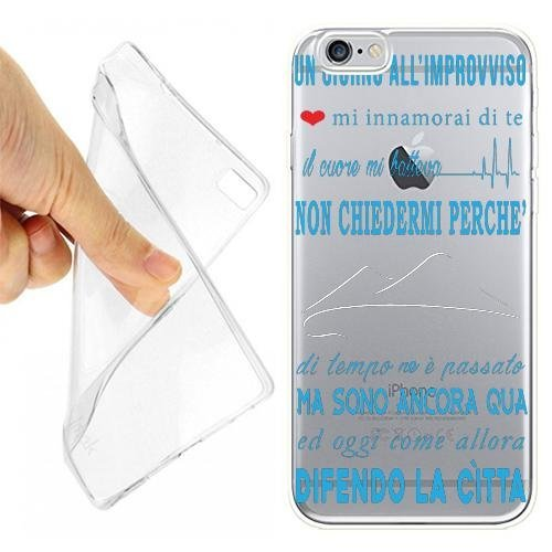 CUSTODIA COVER CASE CORO NAPOLI CELESTE PER IPHONE 6 6S IN ALLUMINIO