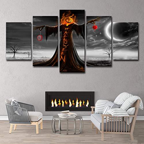zysymx HD 5 Stück Halloween Nacht Kürbis Wandkunst Abstrakte Zeichnung Wohnkultur Wohnzimmer (Zeichnung Einer Halloween-kürbis)
