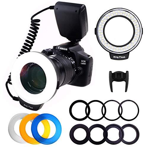 Macro LED Ringblitz, PLOTURE Flash Light Makrofotografie-Licht mit LCD Display Power Control, 4 Blitzdiffusoren, 8 Adapterringe für Canon...