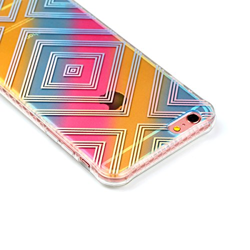 Custodia per iPhone 6S/6 Plus 5.5 Pollici,SKYXD Lusso Luminosa Brillante Strass Strisce Diagonali Rainbow Cover Trasparente Silicone Antiurto Case per Apple iPhone 6S/6 Plus con Brillantini Spina Dell Rombo Reticolo