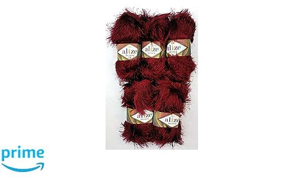 5x 100g Alize Tricoter Avec Franges Bordeaux Rouge N 57 500g