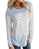 Damen Langarm Pullover Streifen Gedruckt Nähen Basic Hemd Bluse Blau 2XL