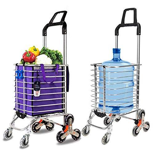 Lebensmittel-Wäscherei-Dienstprogramm-faltbarer Einkaufswagen-Wagen, Aluminiumlegierung-8-Rad-Treppensteigen, Tragfähigkeit 50kg, freier Haken-Gepäckseil-Speicher-Beutel - 35L Kapazität, Purpur, D